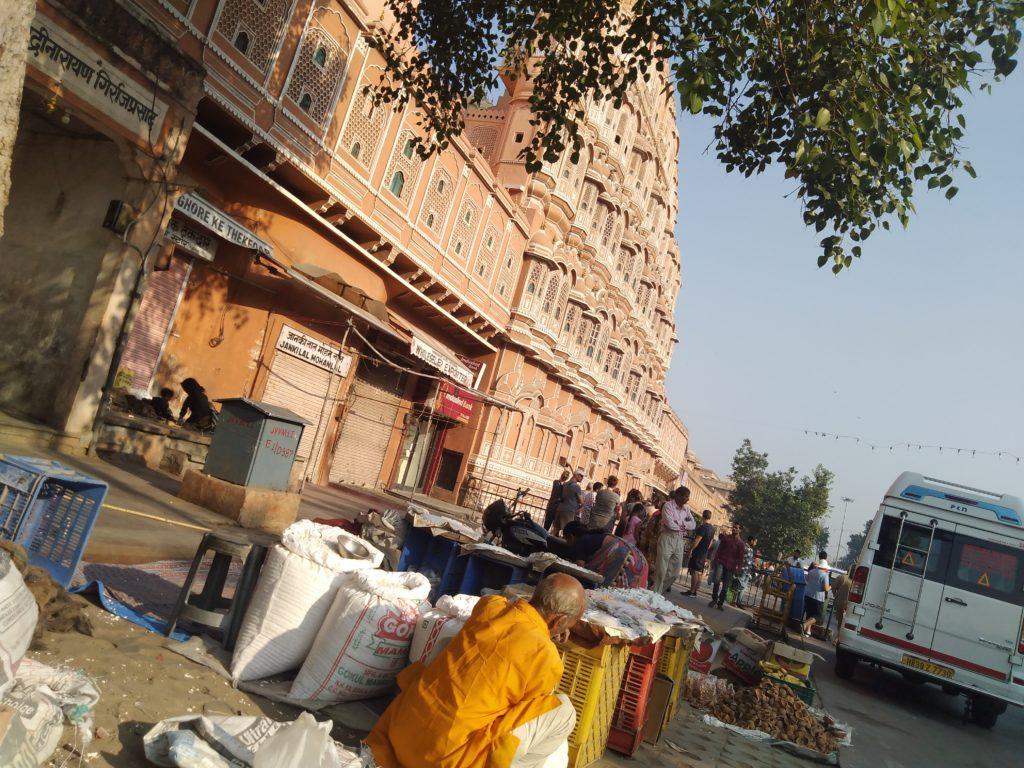 Streets of jaipur at hawa mahal